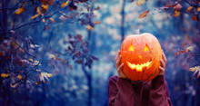Boy Holding Carved Pumpkin For...