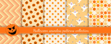Halloween Seamless Patterns Set. Vector Collection Of Colorful Background Swatches. Cute Funny Abstract Textures With Pumpkins, Ghosts, Jack O Lantern, Chevron, Lines, Dots. Repeat Decorative Design