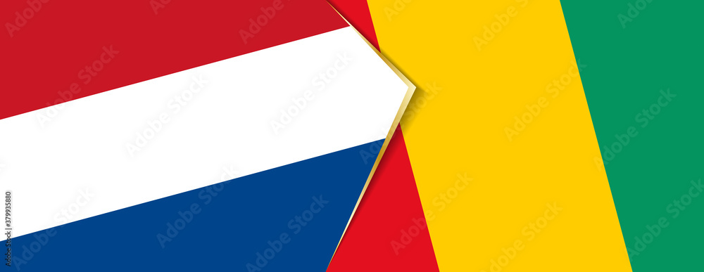 Fototapeta Netherlands and Guinea flags, two vector flags.
