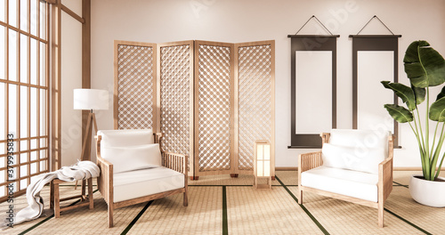 Fotografie, Obraz Wooden Arm chair and partition japanese on room tropical interior with tatami mat floor and white wall