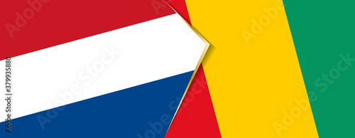 Fototapeta Netherlands and Guinea flags, two vector flags. obraz