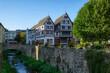 canvas print picture - Brücke und historische Fachwerkhäuser in Bad Münstereifel