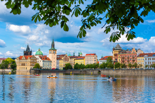 The landscape of the city of Prague view from the Vltava river on the ancient ar Wallpaper Mural