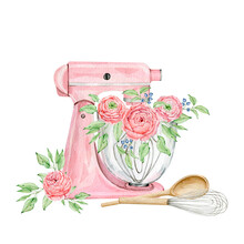 Watercolor Pink Mixer For Creating Diy Bakery Logo
