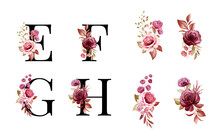 Watercolor Floral Alphabet Set Of E, F, G, H With Red And Brown Flowers And Leaves. Flowers Composition For Logo, Cards, Branding, Etc