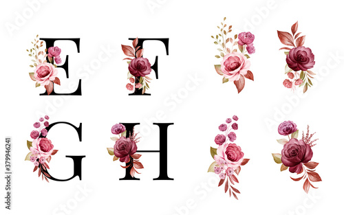 Watercolor floral alphabet set of E, F, G, H with red and brown flowers and leaves Fototapeta