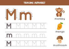 Tracing Alphabet Letter M With Cute Cartoon Pictures.