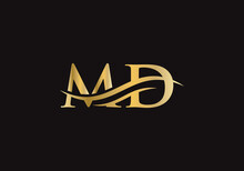 MD Modern Creative Unique Elegant Minimal With Gold Colour. MD Initial Based Letter Icon Logo.