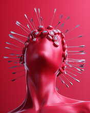 Human Head Covered In Spikes W...