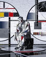 Geometric Statue Of Person Sitting