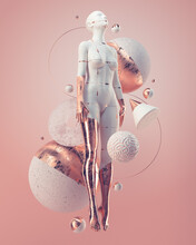 Female Body Form Surrounded By Pink And Gold Spheres