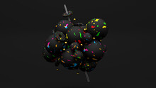 Cluster Of Black And Neon Ball...