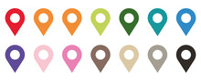 Colored Set Of Map Pointers. L...