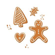 Vector Set Of Christmas Gingerbread Cooki - Tree,man,leaf,heart White Background. Hand Drawn Illustation.