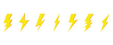 Lightning Bolt Vector Set Isolated On White Background. Simple Icon, Yellow Symbol, Vector Illustration