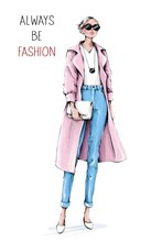 Hand Drawn Beautiful Young Woman Wearing Coat And Jeans. Stylish Girl In Sunglasses Holding White Bag. Fashion Woman Look. Sketch. Fashion Illustration.