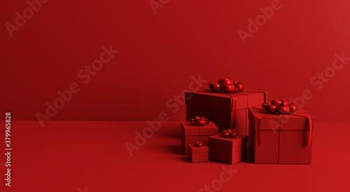 gift box set on red background concept 3d rendering minimal background Fotobehang