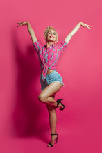 Cheerful Pin Up Woman Standing...