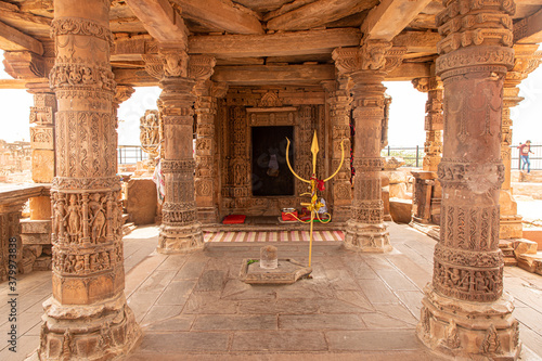 ancient destroyed ruined  temple of indian god at harsh mountain sikar,rajasthan Wallpaper Mural