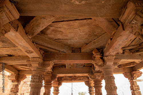 ancient destroyed ruined  temple of indian god at harsh mountain sikar,rajasthan Canvas Print