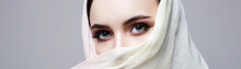 Beautiful Young Woman Covered Her Face In Hijab