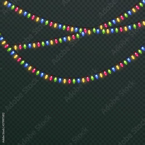 Fototapeta Light Christmas garland. Bright Christmas lights. Festive decor element. Garland colorful, shining on a transparent background. Isolated. Vector illustration. obraz