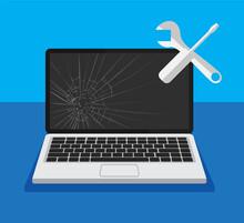Black Broken Laptop Display Wi...