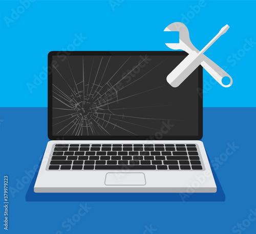 Black broken laptop display with work tool icon Fototapet