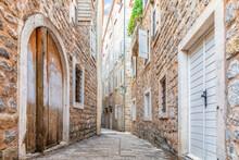 Empty Narrow Street Of Budva O...