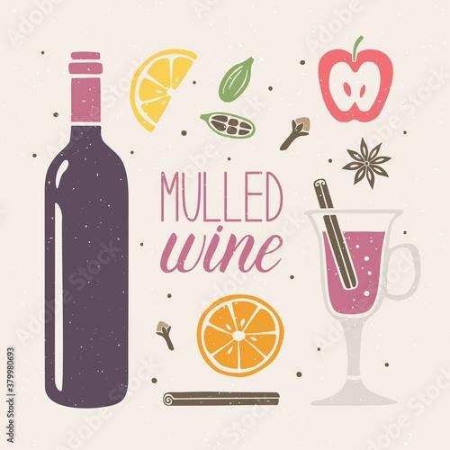 Obraz na plátně Cute mulled wine set on a shabby background