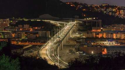 Top view at night of the new San Giorgio bridge in Genoa, Italy.