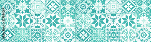 Fototapeta Colorful abstract turquoise aquamarine white vintage retro geometric square mosa
