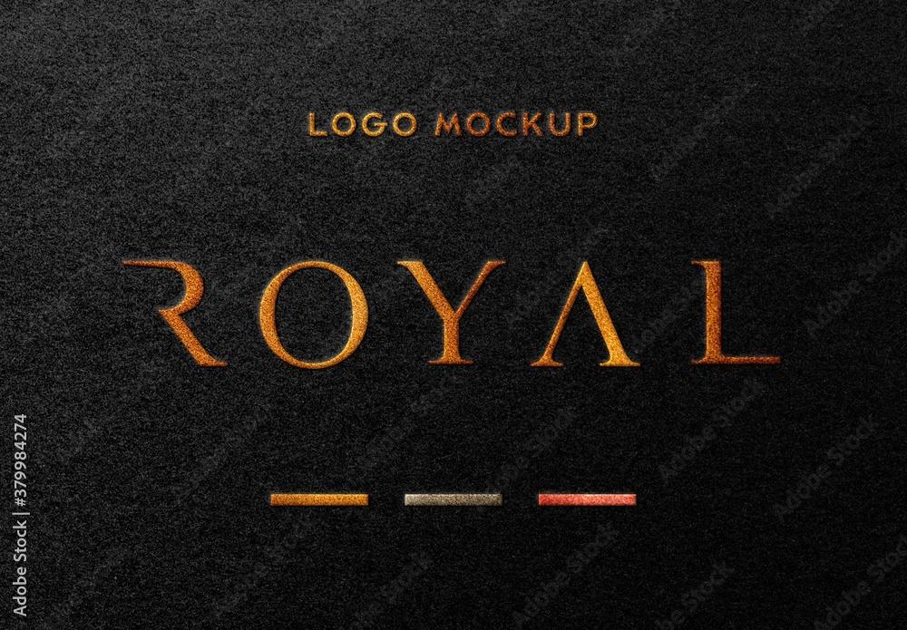 Fototapeta Dark Paper Gold Foil Embossed Logo Mockup