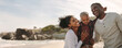 Panoramic image of Beautiful family on vacation