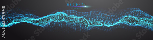Big data visualization. Background 3d .Big data connection background. Cyber technology Ai tech wire network futuristic wireframe data visualisation. Vector illustration . Artificial intelligence .