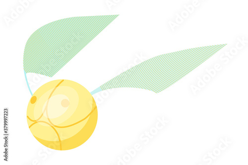 Golden snitch isolated on white background Wallpaper Mural