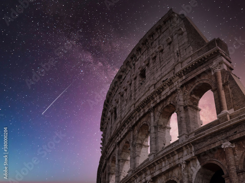 Leinwand Poster colosseum Rome Italy starry sky