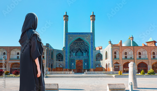 Beautiful Iranian girl wearing abaya - Shah (Imam) Mosque (Jameh Abbasi Mosque), Imam mosque in Naghsh-i Jahan Square - Isfahan, Iran,