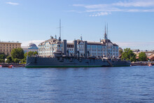 View On Russian Cruiser Aurora In Saint-Petersburg, Russia. Symbol Of The October Socialist Revolution