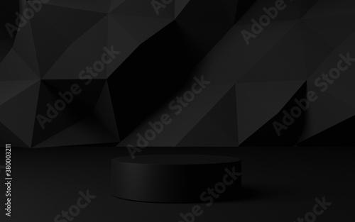 3d rendering dark black background with geometric shapes, podium on the floor Fototapet