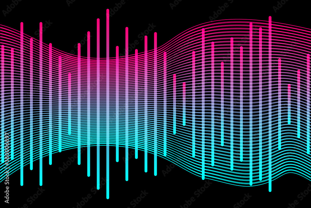 Fototapeta Social media concept. Music waves, gradient color background. Abstract sound wave stripe lines colourful equalizer isolated on black background. Vector illustration. EPS10