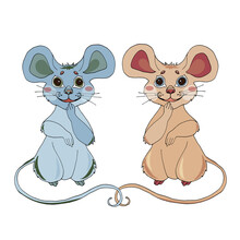 Cartoon Mouse With Poinsettia Flower For The Design Of Children's Clothing, Textiles, Cards, Stickers