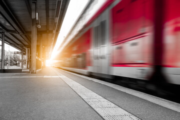 Abstract background travel of public transportation with blur speed motion movement of train on railway tunnel subway.
