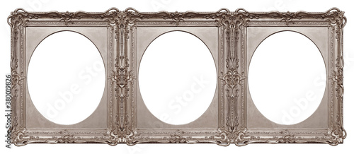 Fotografie, Obraz Triple silver frame (triptych) for paintings, mirrors or photos isolated on white background