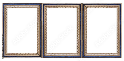 Fototapeta Triple golden frame (triptych) for paintings, mirrors or photos isolated on whit