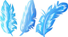 Vector Set Of Blue Feathers. 3...
