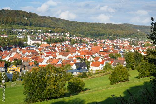 Fototapeta Panorama der Stadt Burladingen auf der Schwäbischen Alb obraz na płótnie