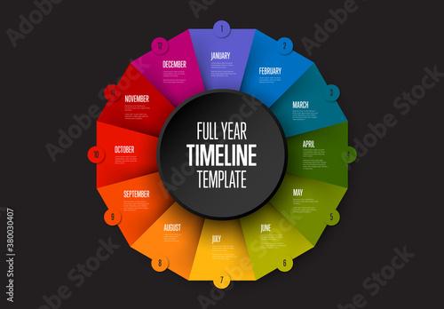 Full Year Timeline on Dark Circle Folded Paper