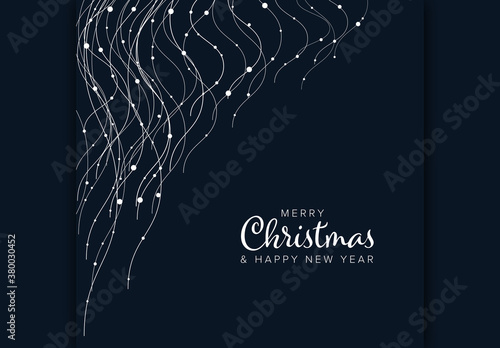 Fototapeta Merry Christmas Card Layout with Wavy Light Chains obraz