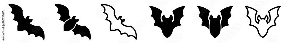 Fototapeta Bat Icon Black | Flying Bats Illustration | Halloween Symbol | Vampire Logo | Scary Sign | Isolated | Variations